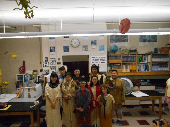 Students learned about Abenaki culture from Patty Manning and family.